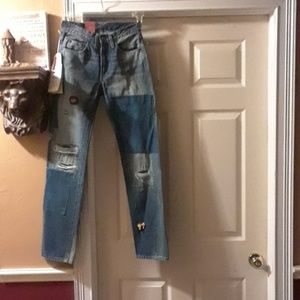 Levis Vintage 501z 1954 Big E Distressed Jeans